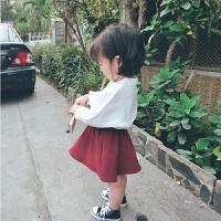 女童衬衫复古立领麻纱女宝宝2018春装长袖洋气韩版儿童衬衣