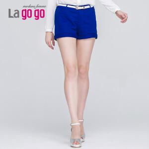 Lagogo拉谷谷秋季新款短裤女宽松休闲裤子韩版中腰显瘦纯蓝色热裤