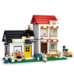 【当当自营】小鲁班模拟城市系列儿童益智拼装积木玩具 班亚&鲁非的公寓M38-B0573