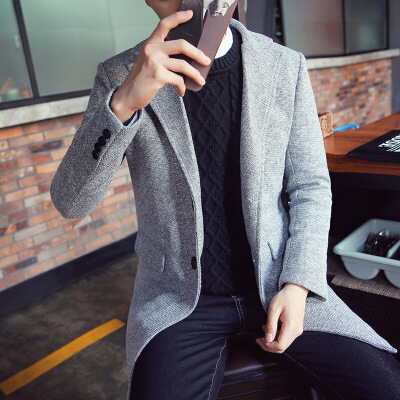 男装秋冬季时尚修身韩版青年大衣外套男士中长款风衣