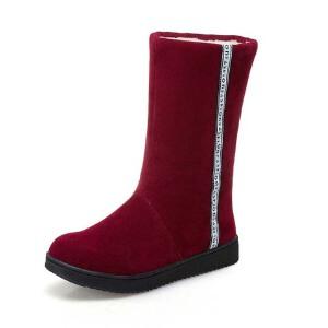 O'SHELL法国欧希尔新品冬季151-811韩版磨砂绒面平跟女士雪地靴