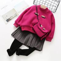 自留洋气女童加绒卫衣+裙裤两件套 2017冬装新款韩版儿童加厚套装