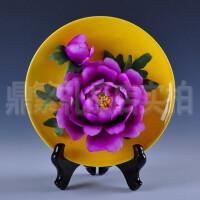德化陶瓷工艺品家居装饰摆设 牡丹花盘挂盘工艺品创意摆件