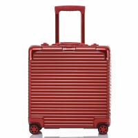 铝框拉杆箱电脑登机箱万向轮18寸小型行李箱红色方形迷你旅行箱女 18寸