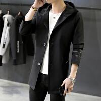春季男士外套中长款韩版修身风衣男青年连帽薄款时尚潮流学生班服
