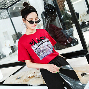 【618大促 每满100减50】欧货t恤女欧洲站夏装2018新款女宽松韩版怪味少女短袖上衣打底衫
