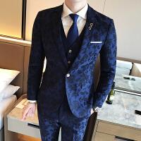 印花西装套装男士正装韩版修身西服三件套伴郎新郎结婚礼服潮