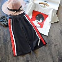 女童休闲套装夏 2017新款韩版条纹阔腿裤+短袖T恤纯棉两件套 潮