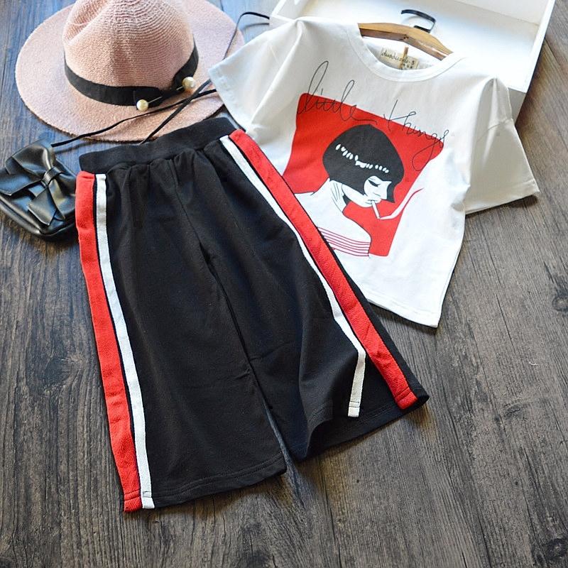 女童休闲套装夏 2017新款韩版条纹阔腿裤+短袖T恤纯棉两件套 潮 发货周期:一般在付款后2-90天左右发货,具体发货时间请以与客服协商的时间为准