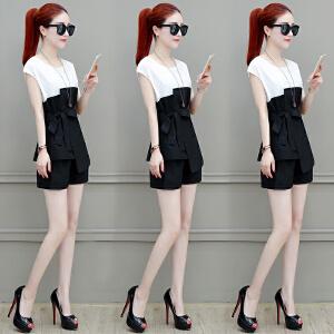 【班图诗妮】时尚套装女2018夏季新款韩版气质修身显瘦不规则上衣短裤两件套潮
