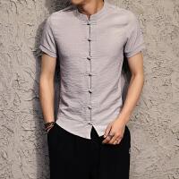 夏季复古中国风男士修身盘扣青年民族风色唐装汉服短袖衬衫