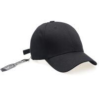 女士帽子 韩版侧边拉链学生飘带刺绣字母棒球帽 情侣时尚遮阳帽 可调节