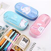 韩国文具盒可爱创意龙猫笔袋笔盒皮质大容量pu铅笔盒学生笔袋批发