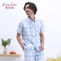康妮雅家居服套装男夏格子休闲男士睡衣夏季套装短袖薄款