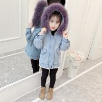 童装女童冬装女孩加厚外套中童加绒牛仔棉衣洋气棉袄