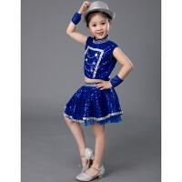 六一�和�演出服爵士舞女童男童幼��@跳舞亮片�裙蓬蓬裙表演服�b 女款 ���{色