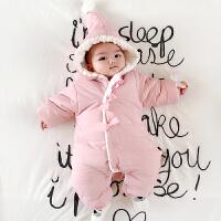 婴儿连体衣服加厚新生儿宝宝外出春季6新年冬装3外套装棉衣0个月1