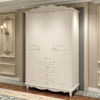 欧式韩式田园二三四门整体衣柜白色衣橱卧室衣柜储物柜简欧衣柜 白色
