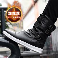 冬季韩版马丁靴男靴加绒棉靴男士短靴高帮皮靴中帮青少年雪地马靴 黑色 F10(北方加绒款)