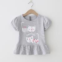 女童T恤 2018夏季新款猫咪印花条纹短袖上衣 荷叶边甜美T恤