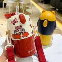 儿童保温杯带吸管杯大容量少女斜挎水壶可爱幼儿园小学生水杯便携