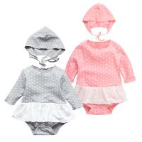 婴儿连体衣服宝宝新生儿季带帽外出服01岁个月长袖三角哈衣