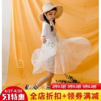 女童2018新款韩版夏装短袖网纱公主裙中大童裙子超薄外穿连衣裙