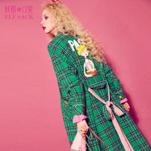 【6折价192元】妖精的口袋猎户星秋装新款宽松系带撞色外套格纹复古风衣女