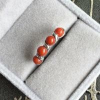 925银戒指 女式 开口 镶天然南红玛瑙珠 满肉柿子红 时尚ol 铂金款 开口可调节