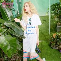妖精的口袋私定终身夏装新款宽松字母撞色短袖连衣裙短裙女