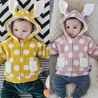 婴儿加绒上衣宝宝冬季外套新生儿保暖外出服拉链衫0-3-6-9-12个月