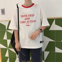 夏季男士五分袖T恤韩版男装港风潮牌圆领体恤打底衫休闲上衣服