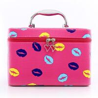 大容量化妆包收纳包卡通嘴唇化妆包韩版防水皮化妆箱包手提化妆包 玫红大号