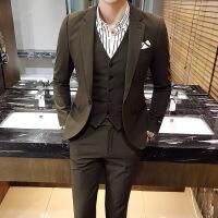 西服套装男士修身韩版西装三件套新郎伴郎结婚礼服英伦风正装