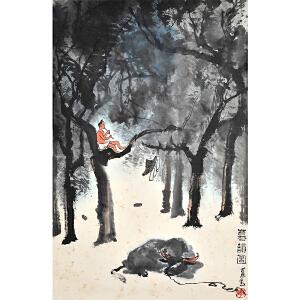 D2491李可染(款)《童子牧牛图》(此件拍品为作者家属提供。原装旧裱,满斑)