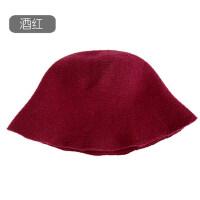 韩版日系文艺百搭潮可爱保暖毛线帽子纯色chic渔夫帽针织帽女