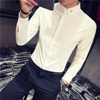 男士衬衫长袖 修身型 韩国帅气青年韩版发型师白衬衣潮流简约百搭
