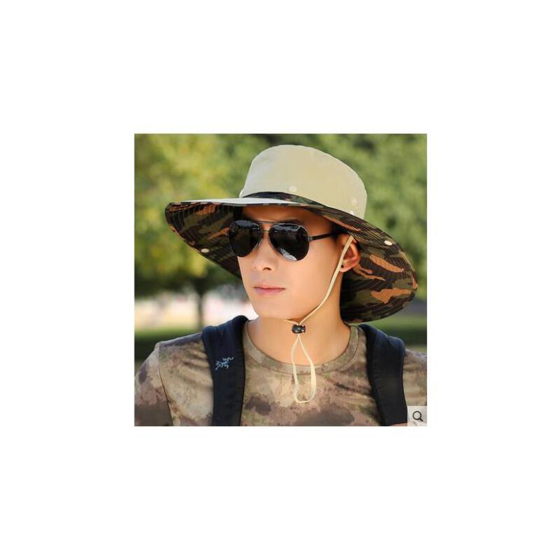 男夏天户外钓鱼帽可拆卸帽子大沿迷彩遮阳帽男士渔夫帽防晒太阳帽