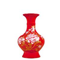 家居客厅酒柜装饰品结婚礼物景德镇陶瓷器中国红富贵花开花瓶摆件