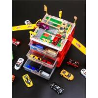 玩具汽车儿童停车场合金工程玩具车警车巴士模型迷你跑车小车套装