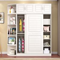 实木衣柜推拉门现代简约挂衣柜板式组装经济型柜子滑移门收纳衣橱 2门 组装