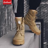 【限时特价包邮】Coolmuch男子工装鞋2019新款复古时尚耐磨防滑中高帮帆布休闲马丁靴YGK902