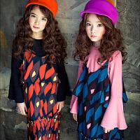 2017新款秋冬韩版女童装长袖喇叭袖T恤中大儿童纯棉打底衫亲子装