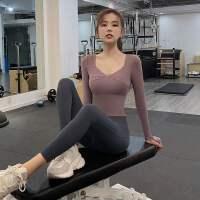 健身服女秋冬款跑步衣服性感紧身运动上衣长袖带胸垫瑜伽服