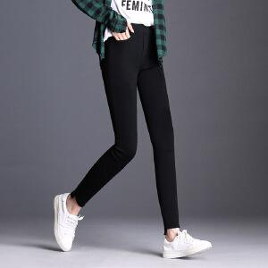 黑色打底裤松紧腰高弹铅笔裤 女外穿薄款小脚裤