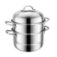 蒸锅304不锈钢三层加厚大号蒸笼馒头家用小1双2层电磁炉煤气灶用 30CM三层加厚