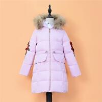 2018年冬装新款女童中长款真毛领连帽玫瑰立体绣花羽绒服T453