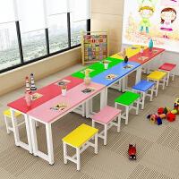 小学生彩色课桌椅凳组合单双人桌辅导班桌椅绘画美术培训桌书画桌