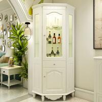 角柜韩式墙角柜三角柜子转角柜客厅储物柜拐角实木置物架欧式酒柜 象牙白