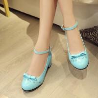 女童高跟鞋单鞋春秋季新款儿童公主鞋韩版蝴蝶结皮鞋中大童鞋
